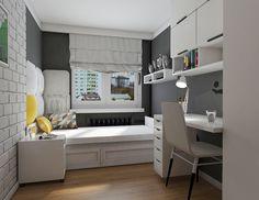 Pokój nastolatka w bloku w Warszawie na Bemowie, 9 m2 – Pracowania projektowania wnętrz