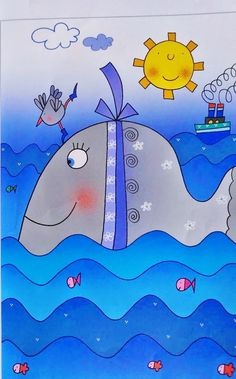 . Drawing Lessons For Kids, Art Drawings For Kids, Cute Drawings, Art Lessons, Kids Room Art, Art For Kids, Simple Car Drawing, Sea Life Art, Birthday Card Design