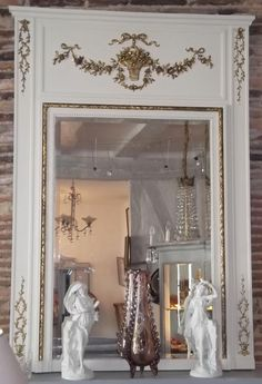 antique trumeau mirror Plus Unique Mirrors, Old Mirrors, Trumeau Mirror, Mirror Mirror, French Furniture, Painted Furniture, Wood Appliques, French Mirror, Old World Style