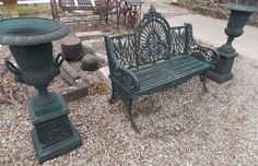 Green Cast Iron Bench with matching Urns Mahogany Furniture, Pine Furniture, Garden Furniture, Outdoor Furniture, Outdoor Decor, Cast Iron Garden Bench, Cast Iron Bench, Cast Iron Fireplace, Old Irish