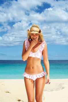 This bikini is adorable, but with a big floppy hat!
