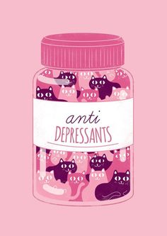Cats Anti Depressants Poster A3 Ecological Paper by WeAreExtinct                                                                                                                                                                                 More