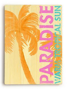 Paradise Warm Sun Vintage Beach Sign: Beach Decor, Coastal Home Decor, Nautical Decor, Tropical Island Decor & Beach Cottage Furnishings