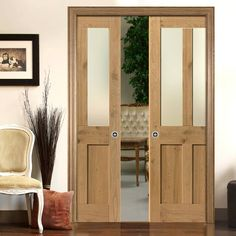 Rustic Oak Shaker 2 Panel 2 Pane Double Pocket Doors   Prefinished With  Clear Safety Glass
