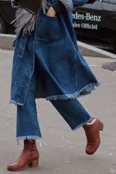 Raw hem denim jacket with cropped raw hem jeans and ankle booties
