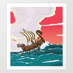 Buy Viking Invasion fleet in the evening sunset Art Print by Nick's Emporium . Worldwide shipping available at Society6.com. Just one of millions of high quality products available.