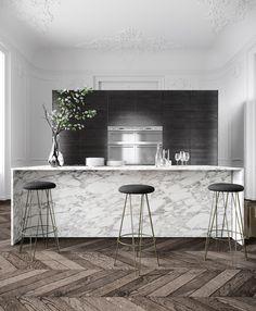Gorgeous marble island in moody, dark kitchen