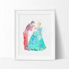 Cinderella and Prince Charming Princess Girls Nursery Art Print Wall Decor