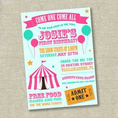Girl Circus Invitation Birthday Carnival First