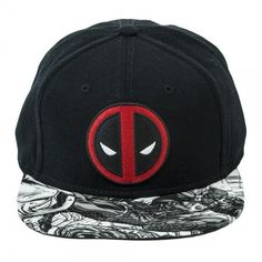 b5e9158f30d New Marvel Deadpool Logo Sublimated Bill Snapback Black Hat Cap  Marvel   BaseballCap  Deadpool