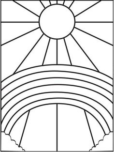 Rainbow and Sun Coloring Page Spring is a beautiful time of year for a variety of reasons, one of which, is rainbows. Here is a great rainbow coloring page with clouds and big sun! Sun Coloring Pages, Mandala Coloring Pages, Coloring Pages To Print, Coloring Sheets, Coloring Books, Stained Glass Patterns Free, Stained Glass Designs, Stained Glass Art, Art Plastique