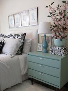 aqua dresser as nightstand Linen Bedroom, Home Bedroom, Bedroom Decor, Bedrooms, Bedroom Night, Green Dresser, Dresser As Nightstand, Teal Nightstands, Nightstand Ideas