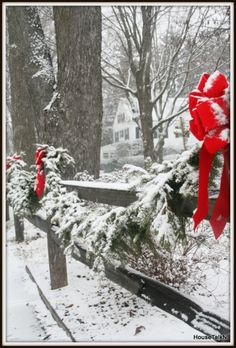 Winter- decor for front fence Magical Christmas, Christmas Love, Country Christmas, Outdoor Christmas, All Things Christmas, Winter Christmas, Vintage Christmas, Merry Christmas, Xmas