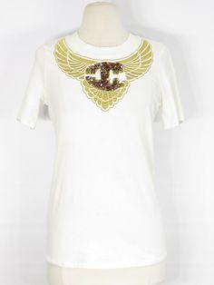 39834198a JUST CAVALLI Women Off White Logo Appliqué Short Sleeve T-Shirt Size M