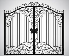 Find iron gate stock images in HD and millions of other royalty-free stock photos, illustrations and vectors in the Shutterstock collection. Wrought Iron Gate Designs, Wrought Iron Gates, House Gate Design, Door Gate Design, Iron Garden Gates, Double Door Design, La Forge, Double Front Doors, Indian Homes