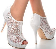 f7116cb41c82 Off White Lace Diamante Platform Wedding Ankle Boots Heels Peeptoe Shoes   Unbranded  Ankleboots   · Svadobné TopánkySvadobné ...