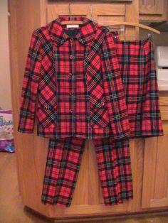 WHAAATTT!!!?? Vintage,Suit PENDLETON Plaid Pleated Pants Skirt Blazer Jacket TARTAN Wool Sz 14