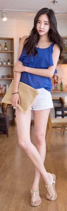 Luxe Asian Korean Women Fashion Sonnet Blue Blouse