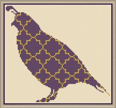 Quatrefoil Quail Counted Cross Stitch Pattern by HornswoggleStore
