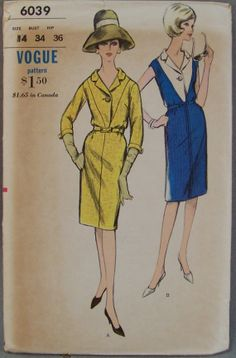 Vintage 1960s Vogue 6039 One Piece Dress with Deep V Yoke Size 14 Bust 34 For The HAT!
