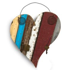 Reclaimed Wood Heart in Multi-Color $47