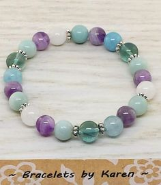 Fluorite, Amazonite, Amethyst, Blue Quartz and White Jade with Silver Spacers
