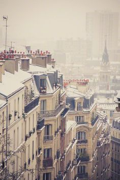 I am suddenly heartbroken that I've never seen Paris with snow.  Hmmm... ;) Paris Rooftops in the snow - Sophia Pagan Photography