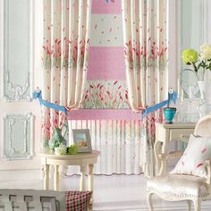 Floral Country Pink, White  Curtains  #kids #curtains #homedecor #nursery #custommade Pink And White Curtains, Pink White, Home Curtains, Kids Curtains, Curtain Ideas, Nursery, Country, Floral, Home Decor