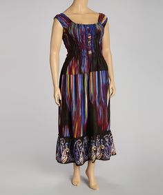 58e5dcf4632 Look what I found on  zulily! Plum   Black Abstract Maxi Dress - Plus
