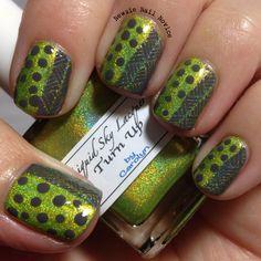 Chartreuse and Grey nails, half and half nails