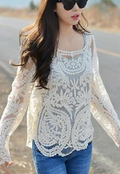 Lace hollow out shirt from Fanewant