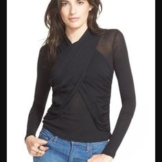 NWT Free People Licorice Crossover Top Black! Fitted. Free People Tops Blouses