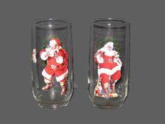 On Sale Vintage Coca Cola, Santa Claus Glasses, Collectible, Glasses, Collector Glasses, Home Decor, Vintage Christmas, Santa Claus by VintageCastaways on Etsy
