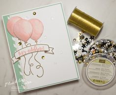This fun birthday card, with watercolored balloons, and sweet ice cream tones, is perfect for sending to your favorite birthday girl. Made using the Balloon Adventures Stamp Set. Up Balloons, The Balloon, Girl Birthday Cards, Birthday Fun, Charity Event, Lets Celebrate, Kids Cards, Homemade Cards, Stampin Up Cards