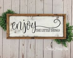 Enjoy Wood Sign Farmhouse Sign Distressed Sign Distressed Farmhouse Sign Farmhouse Decor Wood Sign Enjoy the Little Things Sign Farmhouse Decor Decor distressed Enjoy Farmhouse Sign Wood Farmhouse Signs, Modern Farmhouse Kitchens, Farmhouse Decor, Red Farmhouse, Farmhouse Ideas, Diy Wood Signs, Rustic Signs, Wood Signs Sayings, Wood Signs For Home
