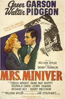 """1942 Academy Award Winners    Picture: Mrs. Miniver  Actor: James Cagney (Yankee Doodle Dandy)  Actress: Greer Garson (Mrs. Miniver)  Supporting Actor: Van Heflin (Johnny Eager)  Supporting Actress: Teresa Wright (Mrs. Miniver)  Director: William Wyler (Mrs. Miniver)  Adapted Screenplay: George Froeschel, James Hilton, Claudine West, and Arthur Wimperis (Mrs. Miniver)  Original Screenplay: Michael Kanin and Ring Lardner Jr. (Woman of the Year) / Emeric Pressburger  Song: """"White Christmas"""""""