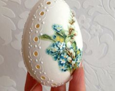 Goose White Egg Madeira Hand Decorated Painted by VeryAndVery