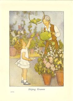 1930's Children's Print By SB Pearse Young Girl Helping Grandmother Water Plants Watering Can Feeding Birds Vintage Book Illustration