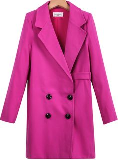 Rose Red Lapel Long Sleeve Buttons Blazer - Sheinside.com