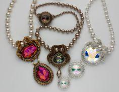 Beaded bezel necklace swarovski rivoli and crystals