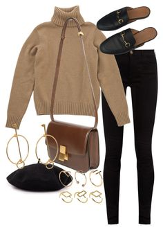 A fashion look from October 2017 featuring wool sweater, high-waisted jeans and flat shoes. Browse and shop related looks. Winter Fashion Outfits, Fall Winter Outfits, Work Fashion, Autumn Winter Fashion, Classy Outfits, Stylish Outfits, Winter Mode, Mode Outfits, Looks Style