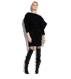 TWEED PATCHWORK OFF-SHOULDER DRESS