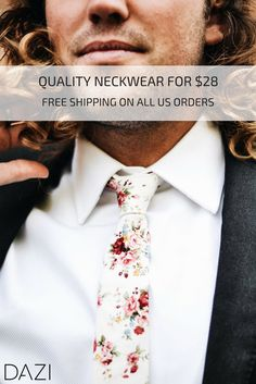 DAZI Quality Neckwear for $28. Free Shipping on all US Orders. Floral Skinny Ties for Groom, Groomsmen, Weddings, Mission, Gifts, Dances, or Any Occasion.