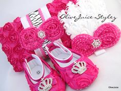 Hot Pink / Zebra Accent Rosette Wipe Case w/ Matching Crib Shoes and Headband Set