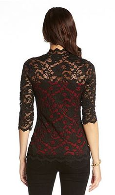 BLACK AND RED KATE LACE TOP Graceful Black and Red Holiday Lace Fashion   Black Lace   1e0ef449e7
