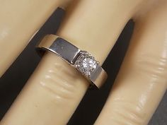 Diamond Solitaire Ring .40Cts White Gold 14K by estatejewelryshop