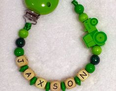 Personalised Wooden Pacifier clip / Baby Dummy Chain / Binky