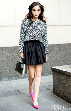 Angelababy | patterned blouse + black skirt