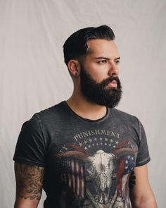 Beard & tattoo portrait. Photo by Liron Erel Echoes & Wild Hearts
