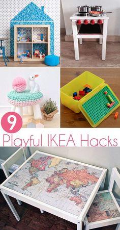 Playful IKEA hacks for kids. Good for playroom, kids bedroom, living room, etc